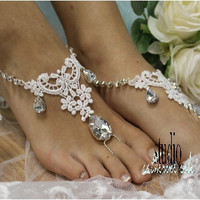 barefoot sandals, victorian, footless, wedding, shoes, love, romantic, dream, lace, barefoot sandle, barefoot beach, rhinestones, ROMANCE silver rhinestone and white lace | BF29
