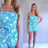 CIJ Sale vtg 60s blue gingham DAISY PRINT pinup Sswimsuit Med/Large floral print bathing suit romper swimwear one piece