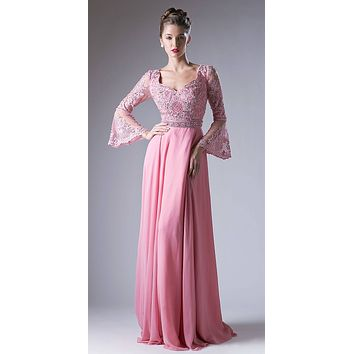 Embroidered Long Formal Dress with Trumpet Long Sleeves Dusty Rose