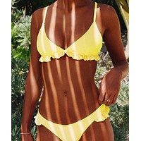 A sexy trends solid-colored lace bikini Yellow TWO PIECE BIKINI