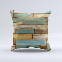 Colored Vintage Solid Wood Planks Ink-Fuzed Decorative Throw Pillow