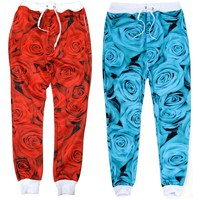 Rose Joggers (Red/Blue)