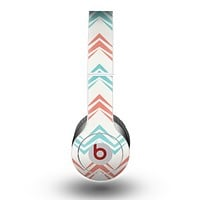 The Vintage Coral & Teal Abstract Chevron Pattern Skin for the Beats by Dre Original Solo-Solo HD Headphones