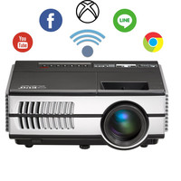 EUG LCD Mini Wifi Android Built-in Home Theater Projector Portable Support 1080p HD Airplay Miracast Wireless Screen Mirroring with iPad iPhone Smartphone KODI Netflix Youtube for Movie Games Party 1500lm Android mini projector