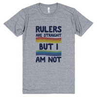 Rulers Are Straight But I Am Not-Unisex Athletic Grey T-Shirt