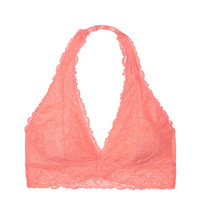 Unlined Lace Halter Bralette - PINK - Victoria's Secret