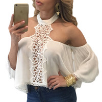 Women Solid Off Shoulder Pom Pom Trim Shirt Sexy Hollow Out Women Club Wear Chocker Neck Bare Shoulders Flare Crop Tops SM6
