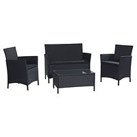 4-Piece Patio Furniture Set in Outdoor Resin Wicker with Black Cushions