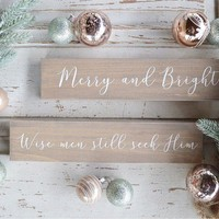 Merry and Bright Brown Sign