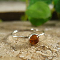 Stacking Ring Silver Citrine Gemstone