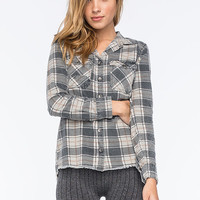 Billabong Waiting For Dawn Womens Flannel Shirt Off Black  In Sizes