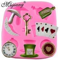 Mujiang Alice Wonderland 3D Poker Fondant Cake Decorating Tools Cake Border Silicone Molds Gumpaste Chocolate Candy Clay Moulds