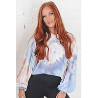 Crowd Surf Blue And Pink Cropped Tie Dye Top