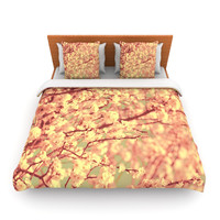 "Ingrid Beddoes ""Vintage Blossoms"" Orange Flower Lightweight Duvet Cover"