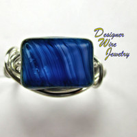 DWJ0228 Lovely Czech Glass Psychedelic Blue Silver Wire Wrap Ring All Sizes