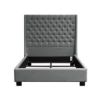 Park Avenue California King Tufted Bed with Vintage Wing in Grey Linen