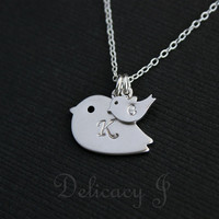 Initial Bird Necklace Monogram Necklace, Personalized Necklace Bird Jewelry, Silver Bird Mother and Child, Initial Necklace Christmas gift