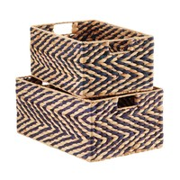 Navy & Natural Water Hyacinth Storage Bins
