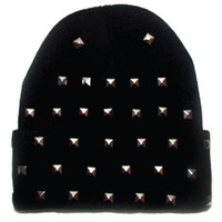 Black Beanie with Silver Studs