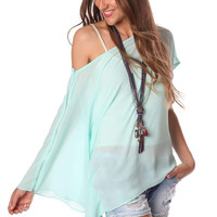 Q2 Turquoise Long Sleeve One Shoulder Top