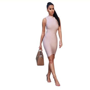 High Neck Women's Sleeveless Bandage Dress