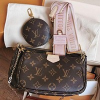 LV (Louis Vuitton) hot sale three-piece fashion ladies one-shoulder messenger bag coin purse card holder