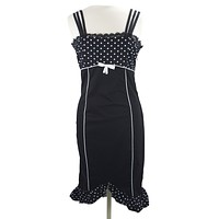 50's Vintage Polka Dot Corset lace up back Two tone Pencil Dress