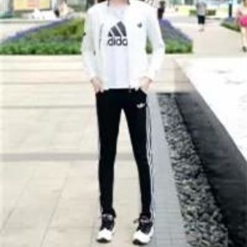 Adidas Autumn Clothes  Unisex Fashion Simple Stripe Short Sleeve  Round Neck Casual Three-piece Suit