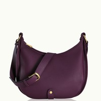 GiGi New York Lauren Saddle Bag Wine Pebble Grain Leather