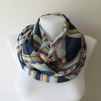 Navy Blue Infinity Scarf, Colorful Pattern Chiffon Scarf, Circle Scarf, Women Loop Scarf, Double Layer, Fall Winter Spring Summer Fashion