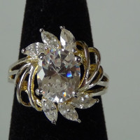 Sterling Silver 925 Cubic Zirconia Oval Marquise Cut Ring Size 6
