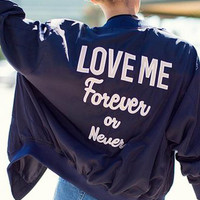 """Purple """"Love Me Forever or Never"""" Alphabet Embroidery Jacket"""