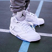 "Nike AIR Jordan 5 AJ5 ""white"" fashion men's and women's casual sports shoes high-top basketball shoes"