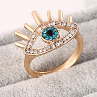 Casual Eye Shape Rhinestone Ring