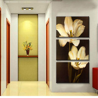 Free Shipping 3 Piece Wall Art Canvas Painting Wall Painting Modern Pictures Mangnolia Flower Style Home Decor Popular Paintings