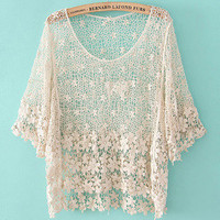 lovely — fashion Crochet hollow shirt