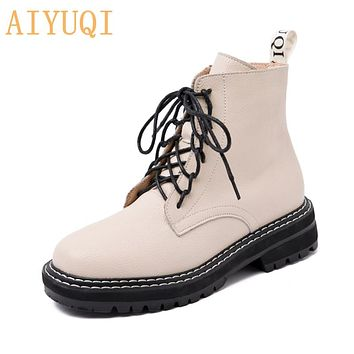 Boots Women Shoes Ankle Autumn British Wind Genuine Leather Thick With Fur Ladies Short Boots Motorcycle Martin
