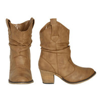 Short Leatherette Slouch Boot - Teen Clothing by Wet Seal