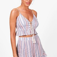 Izzy Pinstripe Lace Up Beach Co-ord | Boohoo
