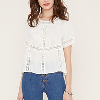 Crochet-Trim Pintucked Top | Forever 21 - 2000153029