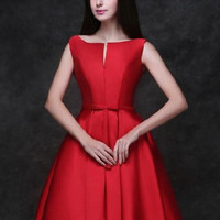 Red Plunge Neck Bowknot Waist Lacing Back Prom Skater Dress