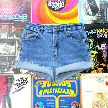 High Waisted Denim Shorts - Vintage 90s Acid Washed RIDERS Stretch Jean Shorts - Cut Off, Frayed, Rolled Up, Cuffed, Distressed Size 10 M