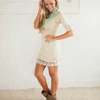 Glistening with Stipes Tunic in Mint and Peach