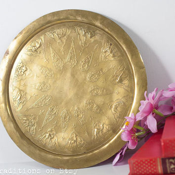 Islamic Brass Tray, Tea Serving Tray Decorated with Embossed Animals, Islamic Decoration, Round Tray, Arabian & Mediterranean Decor