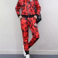 """Adidas"" Women Casual Camouflage Print Zip Hooded Coat Long Sleeve Trousers Set Two-Piece Sportswear"