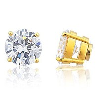 Goldtone Magnetic Earrings with Clear Cz Round - 4mm to 12mm