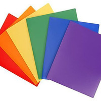 Heavy Duty Plastic 2 Pocket Folder (Assorted Colors Pack of 6) For Letter Size Papers, Includes Business Card Slot