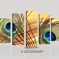 CANVAS ART  - Canvas Print - Peacock Feather 5 Panel Canvas Wall Art - Color Peacock Feathers