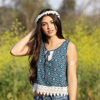 Blue Crochet Crop Top