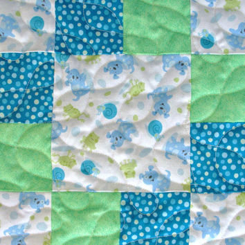 Baby Boy Quilt Patchwork Baby Crib Quilt Toddler Blanket Blue Green Puppy Dogs Frogs